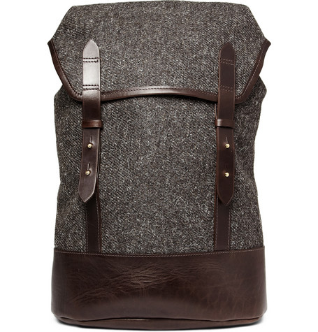 Cherchbi Tweed And Leather Backpack Mr Porter