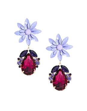 ASOS ASOS Flower Jewel Drop Earrings at ASOS
