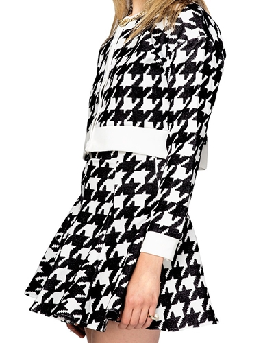 Houndstooth Matching Separates Black White Two Piece Dress