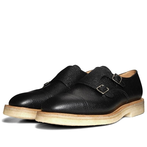 Mark McNairy Crepe Sole 2 Strap Monk Shoe Black Grain Leather