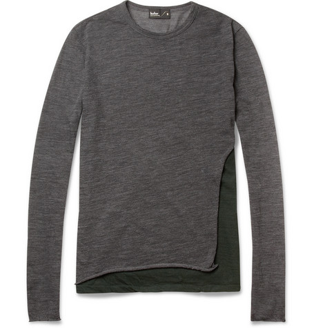 Kolor Panelled Fine Wool Blend Sweater MR PORTER