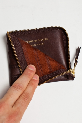 Comme des Gar ons Wallet SA3100ES Embossed Stitch Brown TRES BIEN