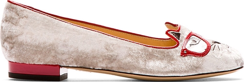 Charlotte Olympia Silver Velvet Kitty Company Clever Kitty Flats Ssense