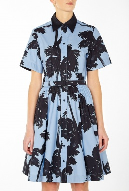 Moschino Cheap Chic Palm Tree Print Shirt Dress By Moschino Cheap Chic