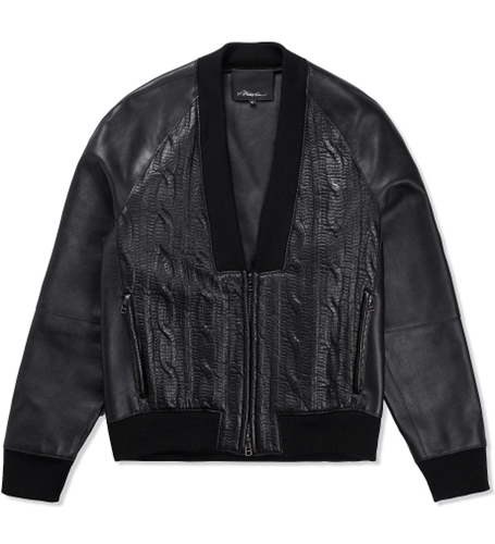 3.1 Phillip Lim Black Zip Up Cardigan W Combo Front Hypebeast Store