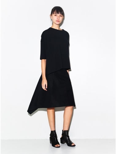 Oak Asymmetric Button Skirt Black Oak