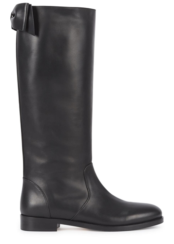 valentino black bow back leather knee boots nuji