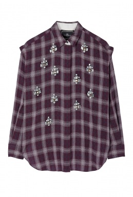 By Malene Birger Alfredah Embellished Plaid Blouse By By Malene Birger
