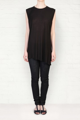 Acne Chance Tencel Black Bias Cut Tank