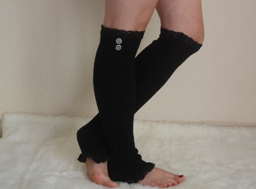 Black Cable Knit Lace Leg Warmers Chunky Leg Warmers By Bstyle