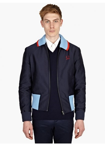 Men's Geometric Twill Harrington Jacket