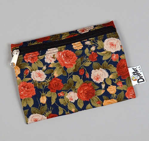TH S CO SMALL ZIP POUCH LARGE ROSES DISCHARGE PRINT NAVY HICKOREE S HARD GOODS