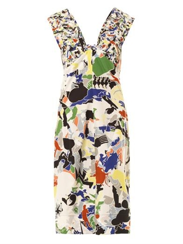 Fractured Print Cotton Dress Jil Sander Matchesfashion.Com