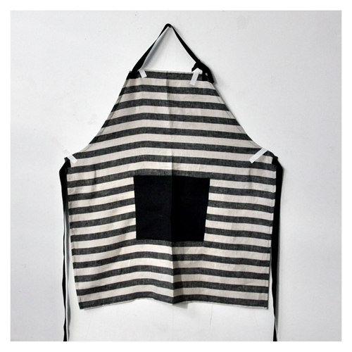 Apron In Linen With Large Stripes With A Large Pocket For Kids And Adult