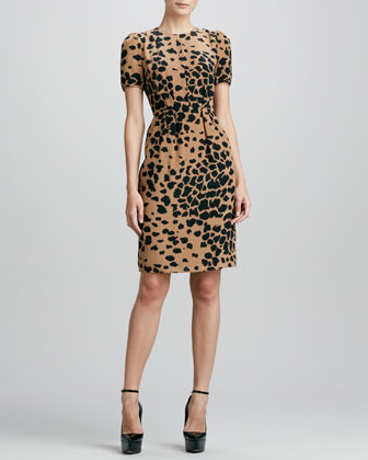 Burberry London Animal Print Silk Dress Camel Neiman Marcus
