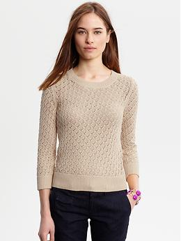 Three quarter sleeve textured crew Banana Republic