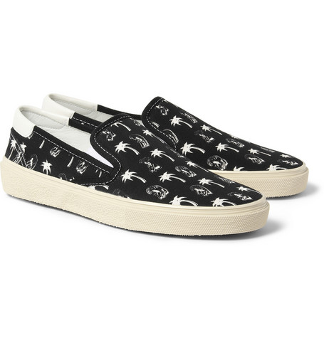 Saint Laurent Printed Canvas Slip On Sneakers Mr Porter