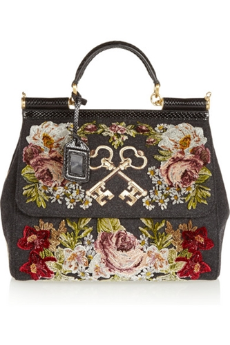 Dolce Gabbana Sicily Ayers Trimmed Appliqued Felted Twill Tote Net A Porter.Com