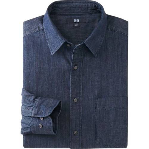 Men Denim Long Sleeve Shirt Uniqlo