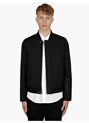 Men's Black Cotton Bomber Jacket