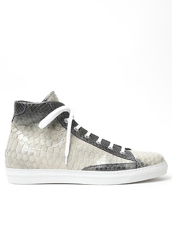 Alexander McQueen Men s Python Skin High Top in black grey at oki ni
