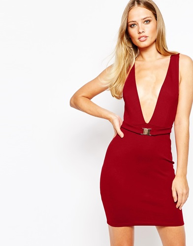 Oh my love plunge neck bodycon dress with buckle detail oxblood