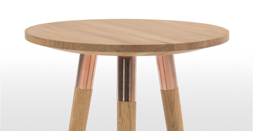 Range Side Table Oak And Copper Made.Com