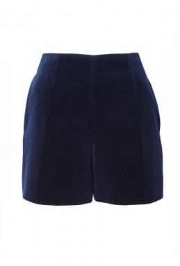 Carven Navy Velvet Shorts By By Carven Rtw Pre