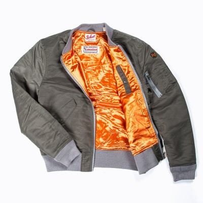 Schott X American College Ma1 Bomber Jacket In Silver Atoo.Co.Uk