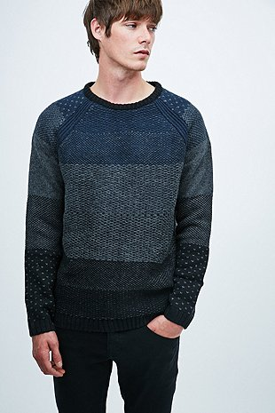 Anerkjendt Tjalfe Mix Colour Jumper In Navy And Grey Urban Outfitters