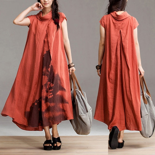 Ethnic Style Orange Linen Dyeing Short Sleeve Dress By Dreamyil