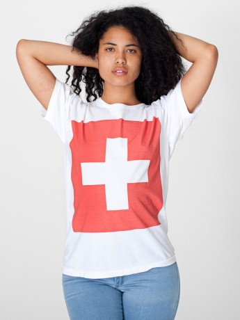 Screen Printed Unisex Power Washed Flag Tee Printed Tops Women s T Shirts American Apparel