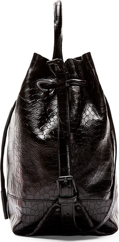Opening Ceremony Black Croc Embossed Leather Izzy Backpack Ssense
