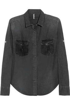 IRO Carolina leather detailed chambray shirt NET A PORTER COM