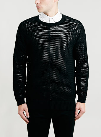 Black Slouch Fit Mesh Jumper New This Week New In Topman
