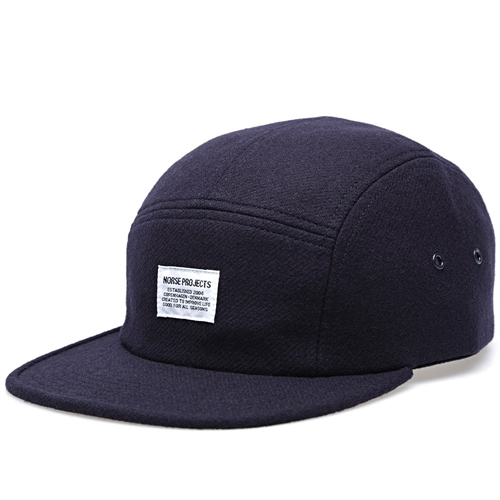 Norse Projects Wool Flannel 5 Panel Cap Navy