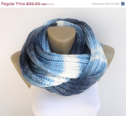 On Sale Blue Knit Scarf Infinity Scarf Women By Senoaccessory