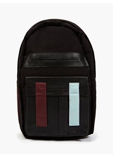 Black Felt And Leather Backpack