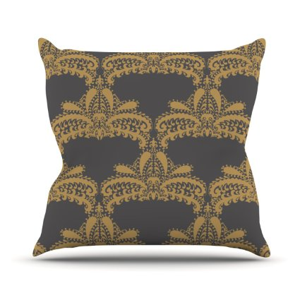 Amazon.Com Kess Inhouse Nandita Singh Decorative Motif Gold Copper Floral Outdoor Throw Pillow 26 By 26 Inch Home Kitchen