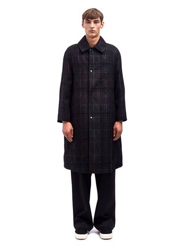 E Tautz Mens Reversible Checked Long Rain Coat Ln Cc