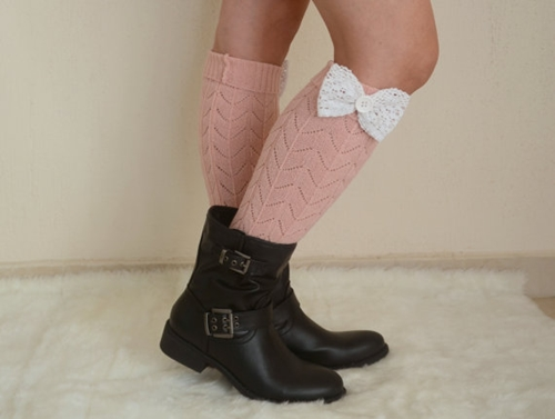 Pale Pink Lace Bow Leg Warmers Chunky Leg Warmers Girly By Bstyle