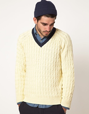Gant Rugger Gant Rugger Cable Knit Cricket Jumper at ASOS
