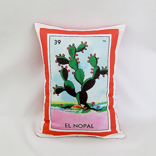Nopal Cactus Loteria Pillow Cover With Zipper By Pillowandpocket