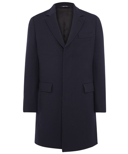 Navy Single Breasted Wool Coat Maison Martin Margiela Shop more coats from the Maison Martin Margiela men s collection online at Liberty co uk