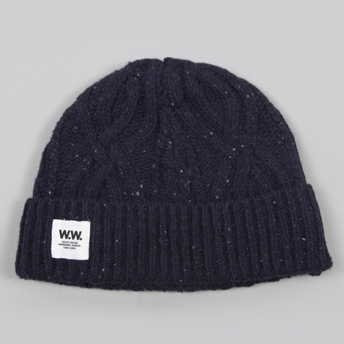 Wood Wood Cable Beanie Navy