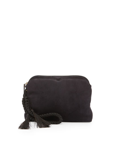 The Row Suede Wristlet Clutch Bag With Horsehair Tassels Navy