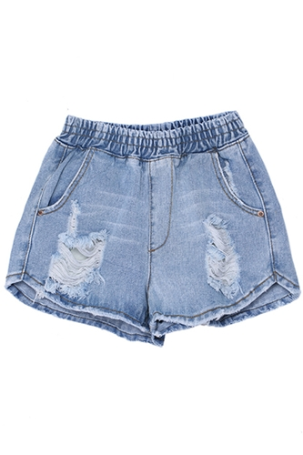 Romwe Romwe Elastic Distressed Blue Denim Shorts The Latest Street Fashion