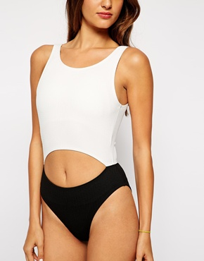 Motel Motel Clinch Monochrome Swimsuit At Asos