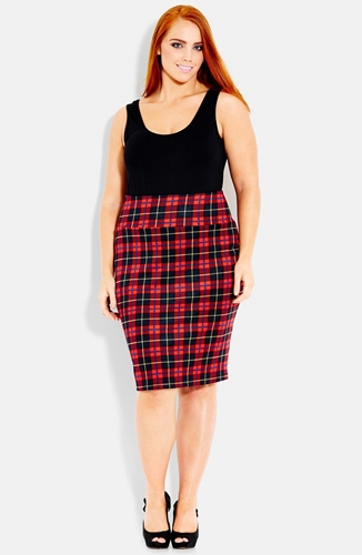 City Chic 'Tartan Girl' Stretch Knit Pencil Skirt Plus Size