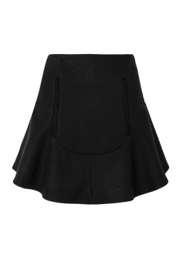 Carven Black Compact Wool Peplum Skirt By Carven Rtw Pre